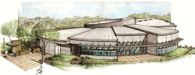 architect's drawing of the College-Rolando Branch Library